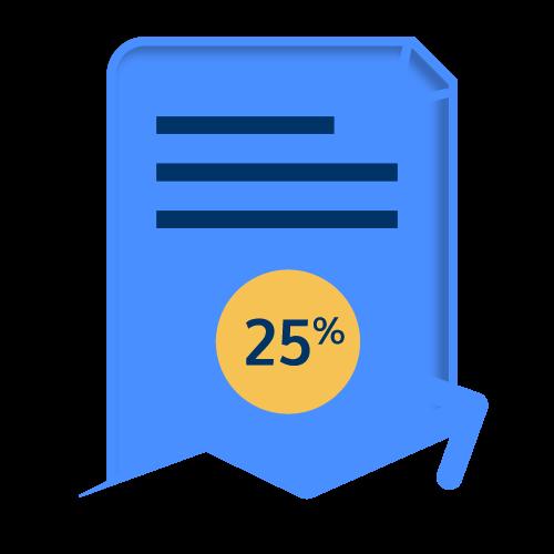 25% increase